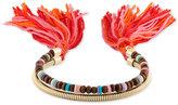 Rachel Roy Gold-Tone Beaded Two-Row Tassel Cuff Bracelet