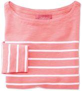 Charles Tyrwhitt Women's Coral and White Breton Stripe Jersey Cotton Top Size 6