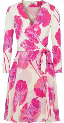 Diane von Furstenberg Irina Printed Jersey And Crinkled Silk-chiffon Wrap Dress