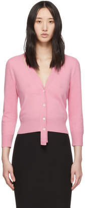 Alexander McQueen Pink Wool Three-Quarter Sleeve Cardigan