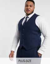 Harry Brown Plus wedding tweed heritage waistcoat-Navy