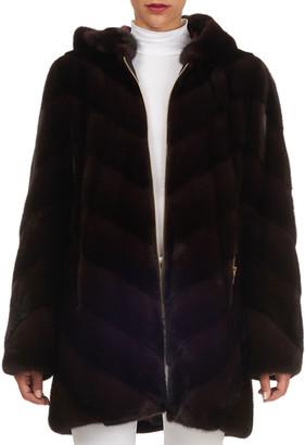 Norman Ambrose Mink Fur Zip-Front Parka Coat
