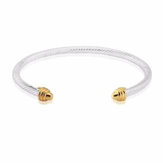 Auree Jewellery Bridgford Silver & Yellow Gold Beehive Bangle