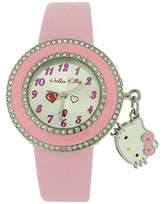 Hello Kitty Girls Analogue Dial & WithKitty Charm & Pink PU Strap Watch