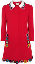 Mary Katrantzou Mason Floral-appliquéd Wool-crepe Coat - Red