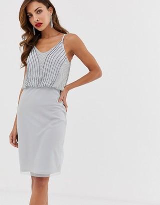 Little Mistress detailed strap top pencil dress-Grey