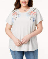 Style&Co. Style & Co Plus Size Cotton Embroidered T-Shirt, Created for Macy's