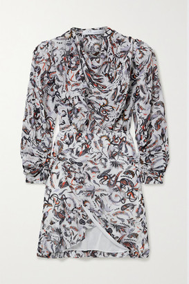IRO Langur Wrap-effect Draped Printed Georgette Mini Dress - White