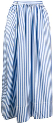 Jil Sander pinstriped gathered A-line skirt