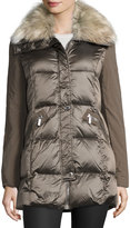 French Connection Quilted Down Jacket with Faux-Fur Collar, Taupe