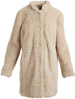 Kenneth Cole Ivory High Neck Faux Fur Coat