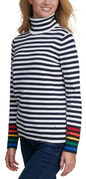 Tommy Hilfiger Striped Rainbow-Cuff Sweater