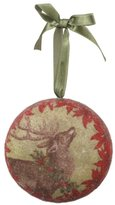 """Midwest Mid-West 4"""" Decoupage Reindeer with Holly and Poinsettias Christmas Ornament"""