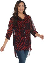 Dennis Basso Printed Woven Button Front Tunic with Tank