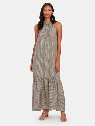 ASCENO The Ibiza Silk Halter Neck Maxi Dress