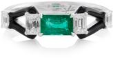 Nikos Koulis Oui Ring With Emerald Center Stone Emerald Cut Diamonds And Black Enamel
