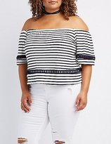 Charlotte Russe Plus Size Crochet-Inset Off-The-Shoulder Top