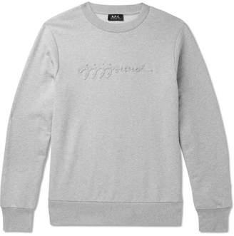 A.P.C. + Jjjjound Logo-Appliqued Melange Loopback Cotton-Jersey Sweatshirt