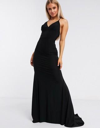 Club L London cross back fishtail maxi dress in black