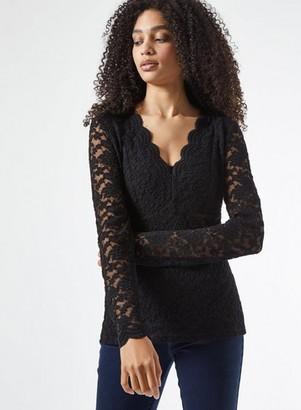 Dorothy Perkins Womens Black Long Sleeve Lace Top, Black