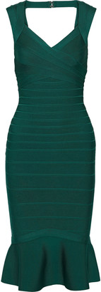 Herve Leger Fluted Cutout Bandage Dress