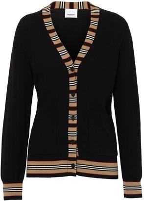 Burberry Cauca Merino Knit Cardigan W/ Stripe