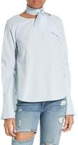 Frame Women's Stripe Cotton Tie Neck Blouse