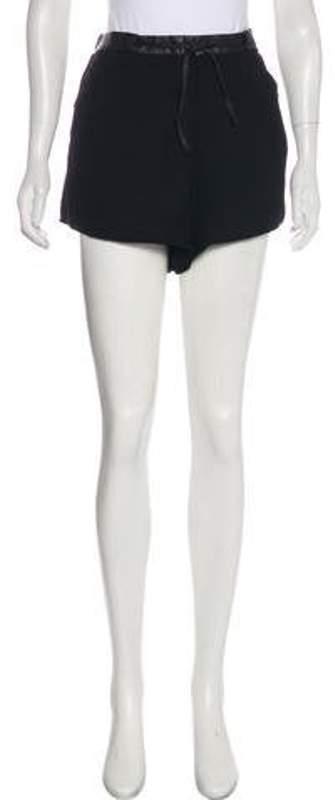 Helmut Lang Leather-Trimmed Mini Shorts Black Leather-Trimmed Mini Shorts