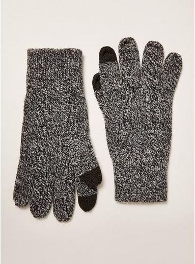 Topman Mens Grey Salt And Pepper Touchscreen Gloves