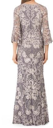 Beaded Soutache Three-quarter Bell Sleeve Gown