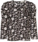 Ulla Johnson Posey Ruched Floral-print Cotton And Silk-blend Organza Blouse - Midnight blue