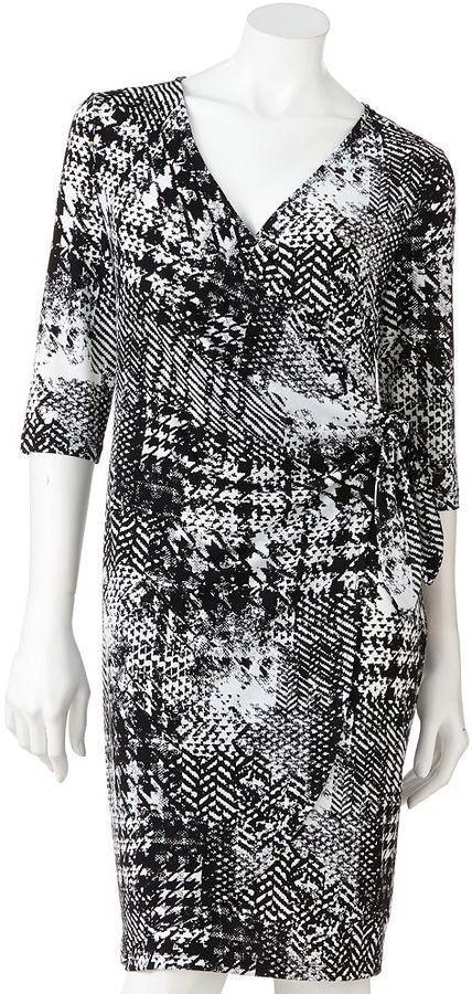 Apt. 9 houndstooth faux-wrap dress
