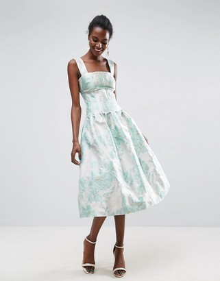 Bardot Asos Design ASOS Bodice Seamed Prom Midi Dress-Multi