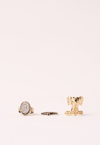 Missguided Elephant Three Pack Ring Set Gold