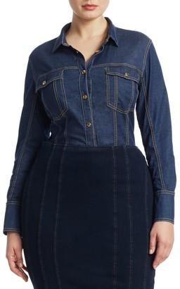 Ashley Graham X Marina Rinaldi Bangkok Denim Shirt Bodysuit