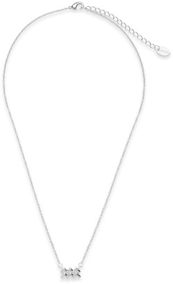 Sterling Forever Rhodium Plated Zodiac Pendant Necklace - Aquarius