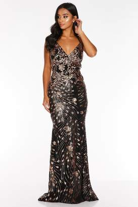 Quiz Petite Black and Rose Gold Sequin Backless Fishtail Maxi Dress