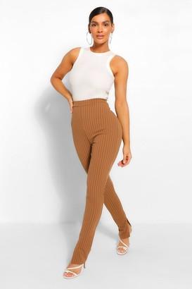 boohoo Pinstripe Split Hem Long Line Slim Fit pants