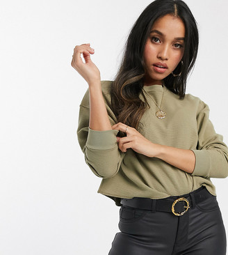 Asos DESIGN Petite oversized sweat in waffle with exposed seams