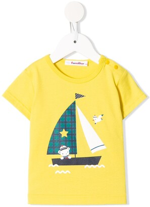 Familiar boat-print crew neck T-shirt