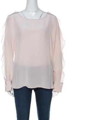 See by Chloe Blush Pink Silk Ruffle Sleeve Blouse M