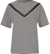 River Island Womens Navy stripe ladder lace insert loose T-shirt