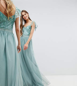 Amelia Rose Tall Embellished Top Maxi Dress With Frill Sleeve Detail-Green