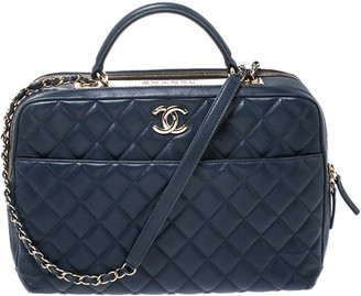Chanel Blue Quilted Leather Large Trendy CC Bowler Bag