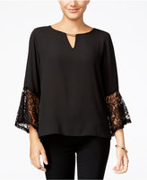Amy Byer Juniors' Lace-Sleeve Peasant Top
