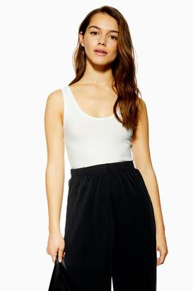 Topshop Womens Petite White Ribbed Racer Vest - White