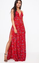 PrettyLittleThing Red Extreme Split Strappy Back Maxi Dress