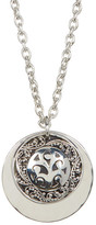 Lois Hill Sterling Silver Medium Hand Carved Double Round Disc Necklace