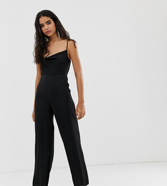 Miss Selfridge jumpsuit with cowl neck in black