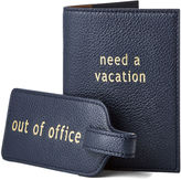 Graphic Image Leather Travel Accessory Set, Navy